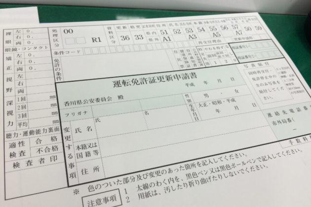 写真:運転免許証更新申請書