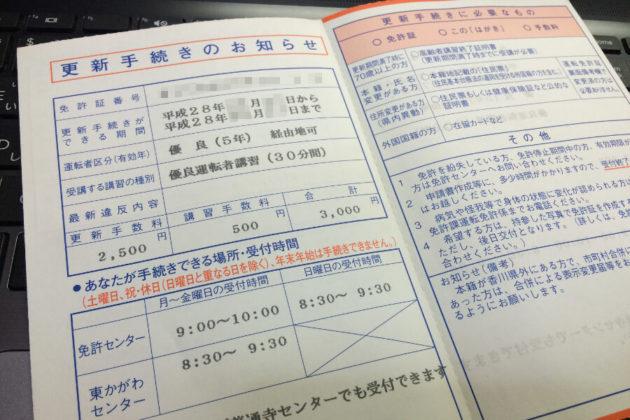 写真:運転免許証更新連絡書