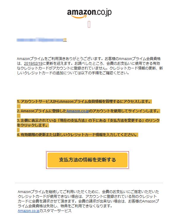 Amazonを装うスパムメールの本文